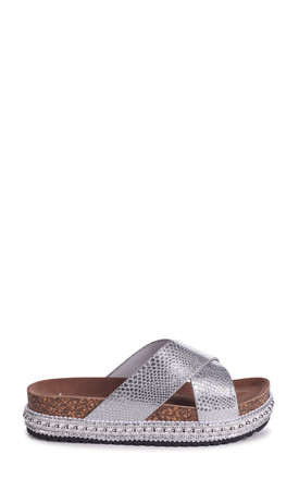 Oasis Silver Snake Studded Platform Slider With Crossover Front Strap by Linzi