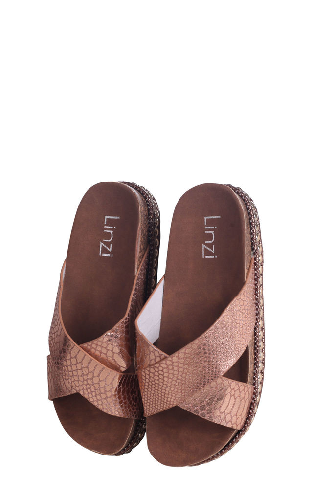 Oasis Rose Gold Snake Studded Platform Slider With Crossover Front Strap by Linzi
