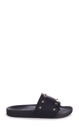 Martino Black Slip On Slider With Studded Front Strap by Linzi