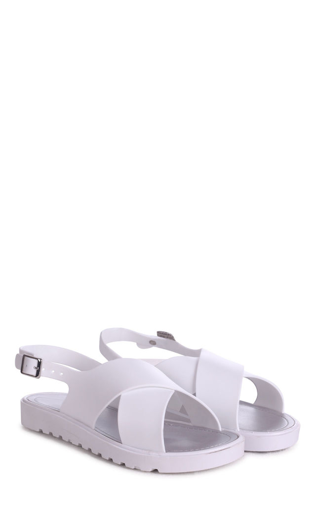 Bess White Cross Over Jelly Sling Back Sandals by Linzi