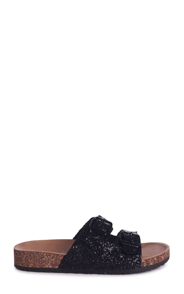 Denise Black Glitter Slip On Slider With Double Buckle Front Strap by Linzi