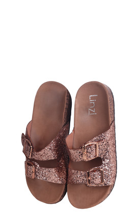 Denise Gold Glitter Slip On Slider With Double Buckle Front Strap by Linzi