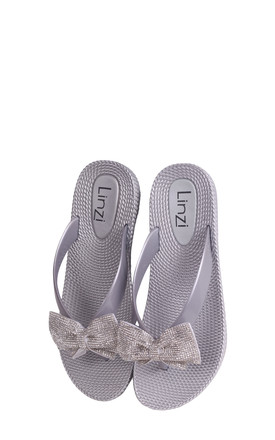 Terri Silver Wedged Jelly Flip Flop With Diamante Bow by Linzi