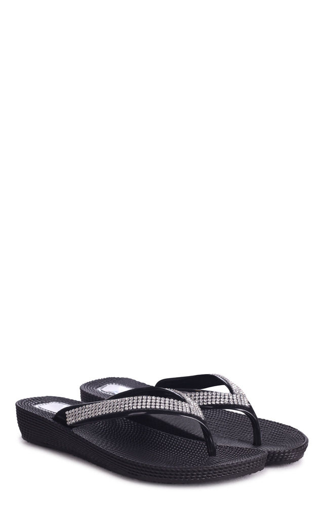 Kaia Black Wedged Jelly Flip Flop With Diamante Embellished Strap by Linzi