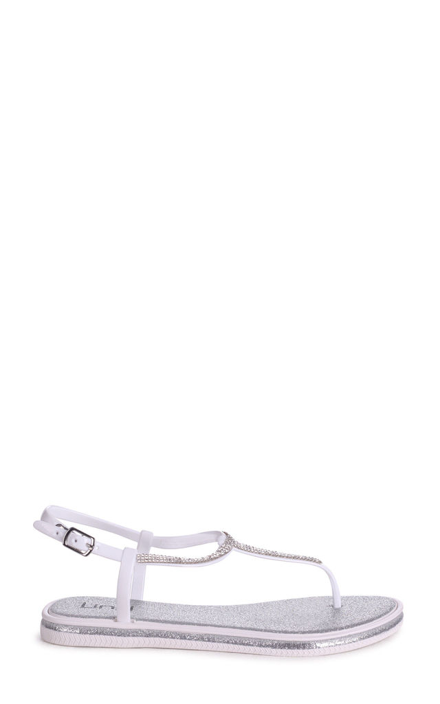 Storm Silver Glitter Jelly Sandal With Diamante Toe Post by Linzi