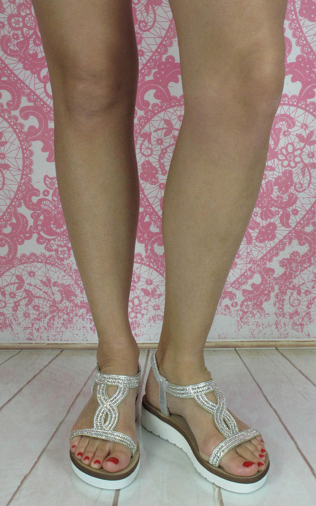 Belle White Sparkled Sandals by Fashion Mad