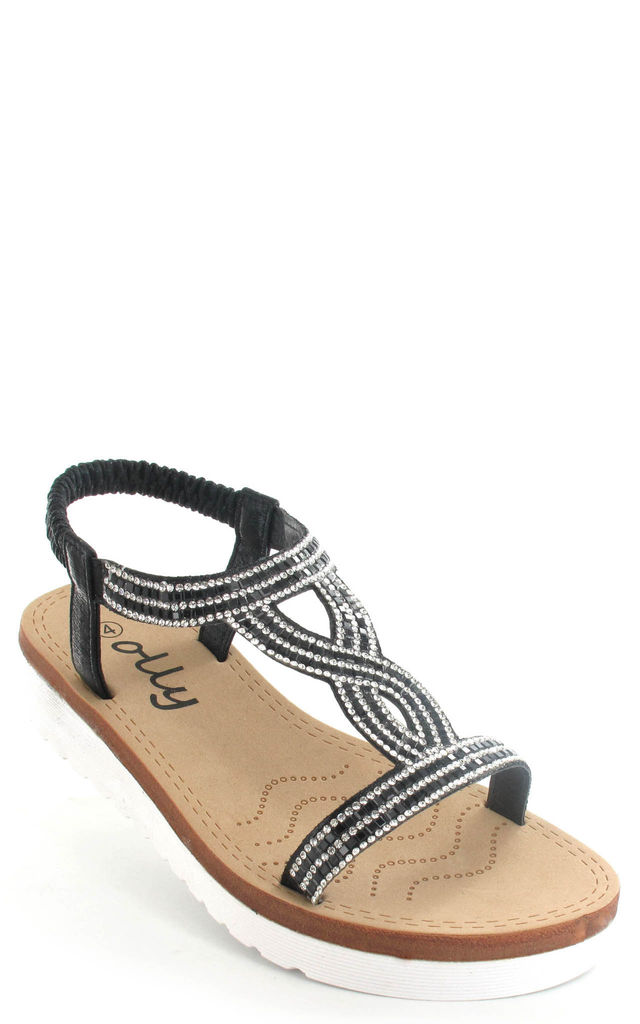 Belle White Sole Sparkled Sandals in black by Fashion Mad