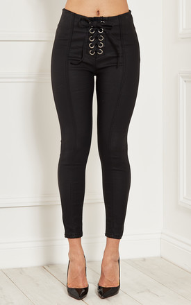 Black Lace Up Skinny Fit Jeans by Lilah Rose