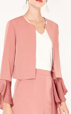 Cropped Jacket with Flared Sleeves in Blush Pink by Paisie