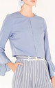 Cropped Jacket with Flared Sleeves in Blue by Paisie