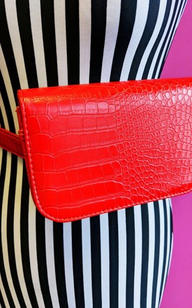 'Red For Filth' Crocodile Red Belt Bag by Bottle Blonde Studio