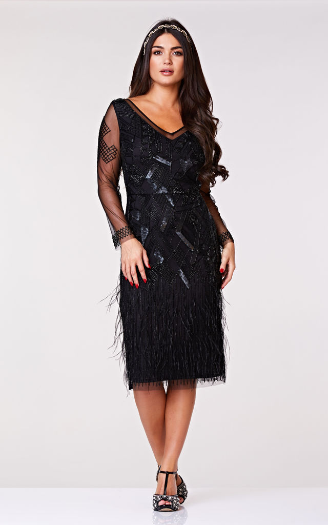 Ivy Feather Black Occasion Midi Dress by Gatsbylady London