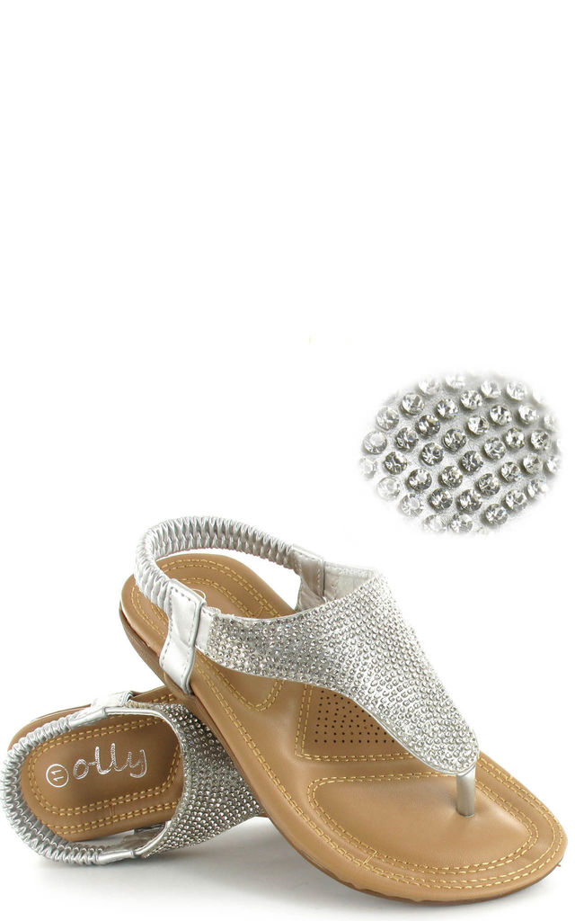 Samba Silver Diamante Sling Back Sandals by Fashion Mad