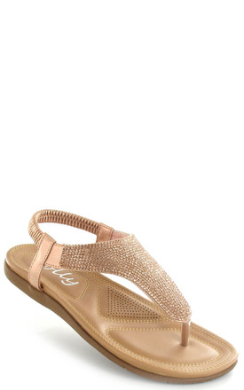 Samba Rose Gold Diamante Sling Back Sandals by Fashion Mad
