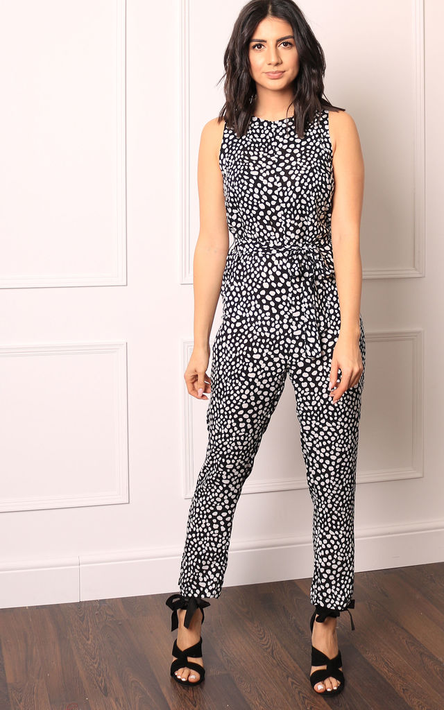 Dalmatian Animal Print Round Neck Sleeveless Jumpsuit in Black & White by One Nation Clothing