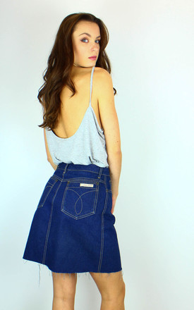 Vintage Calvin Klein Denim Mini Skirt With Logo Back by Re:dream Vintage Product photo