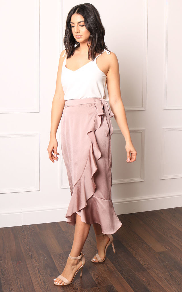 Satin Wrap Midi Skirt with Frill Hem in Mink Pink by One Nation Clothing