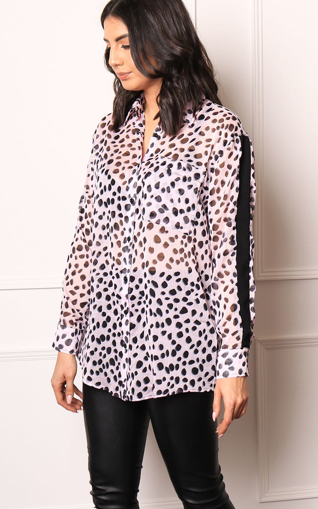 38f67a2dda97 Dalmatian Print Oversized Long Sleeve Sheer Shirt Blouse in Pink & Black by One  Nation Clothing