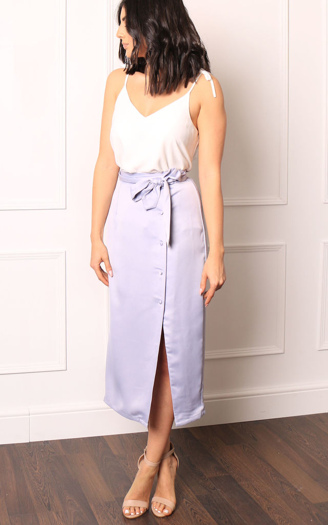 Satin Side Button & Belted Midi Skirt in Periwinkle Blue by One Nation Clothing