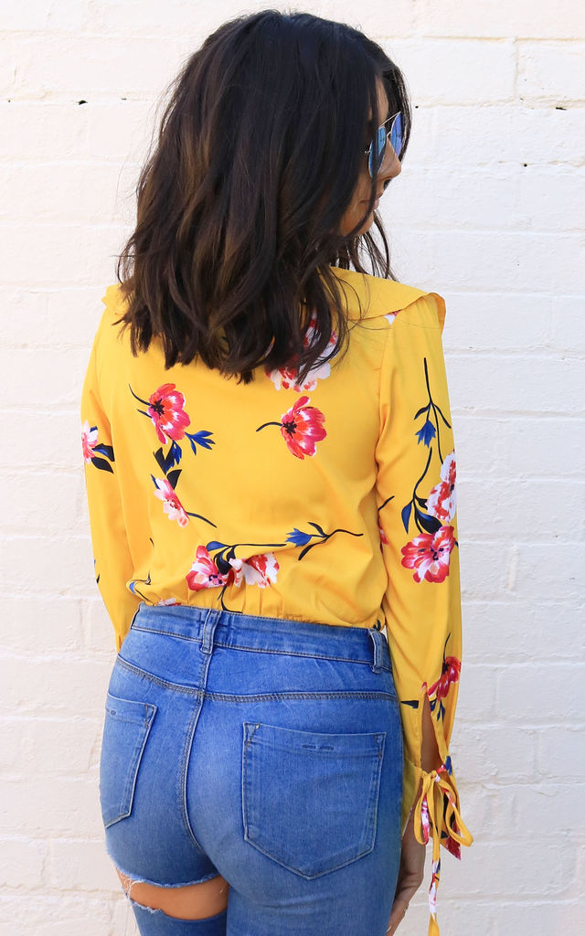 Floral Print Wrap Over Frill Long Sleeve Blouse Bodysuit in Yellow, Red & Pink by One Nation Clothing