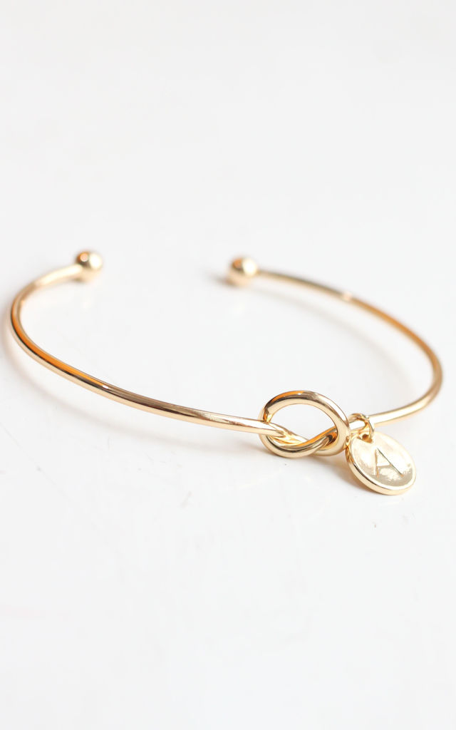 Gold knot Bracelet with Personalised Initial Charm - A by Free Spirits