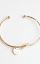 Gold knot Bracelet with Personalised Initial Charm - C by Free Spirits