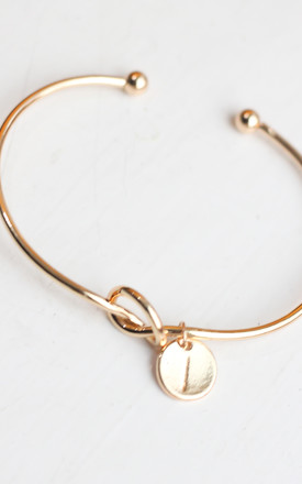 Gold knot Bracelet with Personalised Initial Charm - I by FreeSpirits