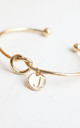 Gold knot Bracelet with Personalised Initial Charm - J by Free Spirits