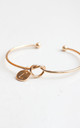 Gold knot Bracelet with Personalised Initial Charm - L by Free Spirits