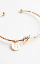 Gold knot Bracelet with Personalised Initial Charm - R by FreeSpirits