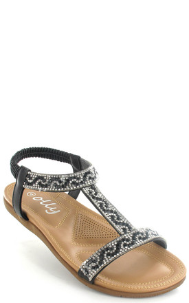Mags Black Cushioned Diamante Slingback Sandals by Fashion Mad