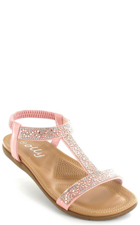 Rose Gold Mags Cushioned Diamante Slingback Sandals by Fashion Mad