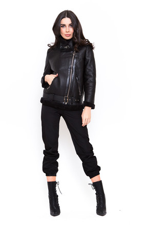 Black Faux Shearling Biker Coat by Candypants