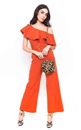Belted Burnt Orange Jumpsuit with Frill Detail by Candypants
