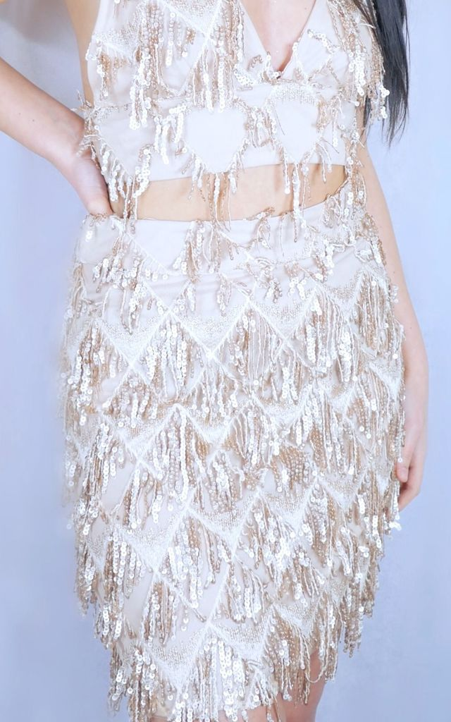 ecc5bfcf5e49b Gold Sequin Tassel Skirt and Bralet Co-ord by SORT.co