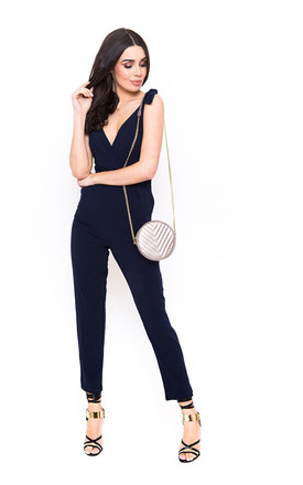 Navy Wrap Front Jumpsuit with Lace Detail by Candypants