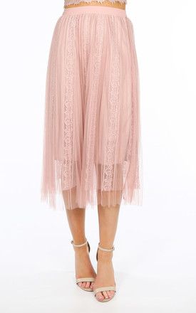 Bridal Pink Pleated Lace Tulle Skirt by Dressed In Lucy