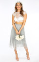 Bridal Grey Pleated Lace Tulle Skirt by Dressed In Lucy