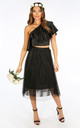 Black Pleated Lace Tulle Skirt by Dressed In Lucy