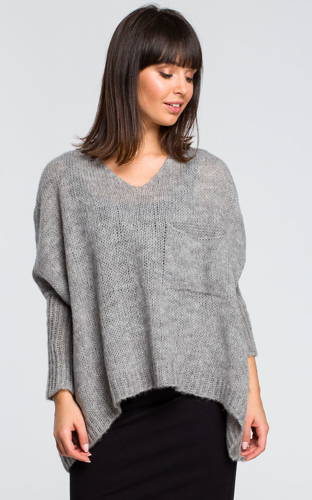 Grey oversized jumper with pocket by MOE