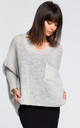 Light grey oversized jumper with pocket by MOE