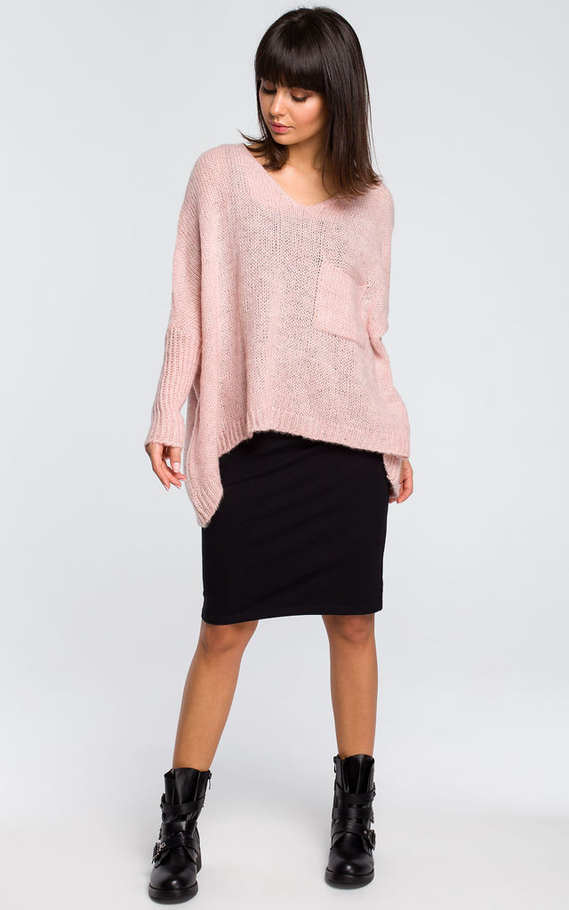Pink oversized jumper with pocket by MOE