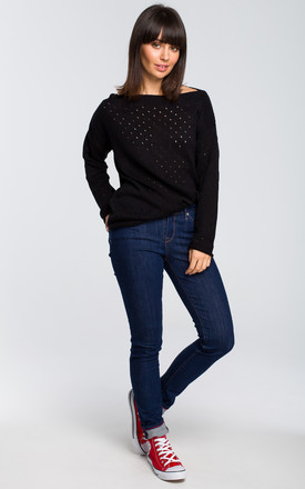 Long Sleeve Sweater with Eyelet Design in Black by MOE