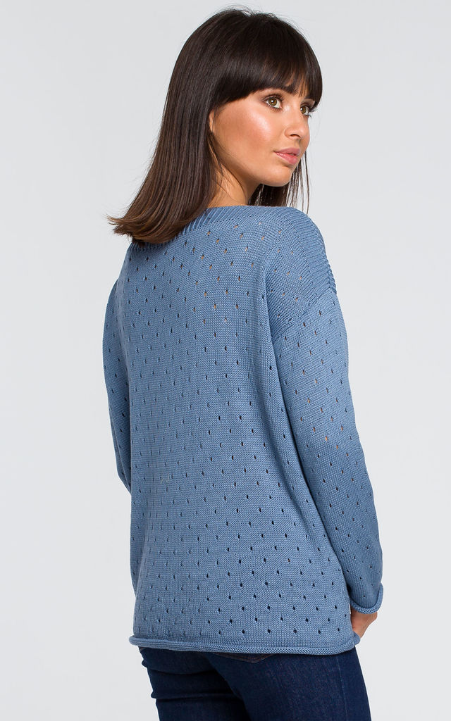 Long Sleeve Sweater with Eyelet Design in Blue by MOE