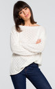 Long Sleeve Sweater with Eyelet Design in White by MOE