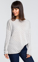 Long Sleeve Sweater with Eyelet Design in Light Grey by MOE