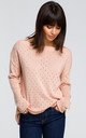 Long Sleeve Sweater with Eyelet Design in Pink by MOE