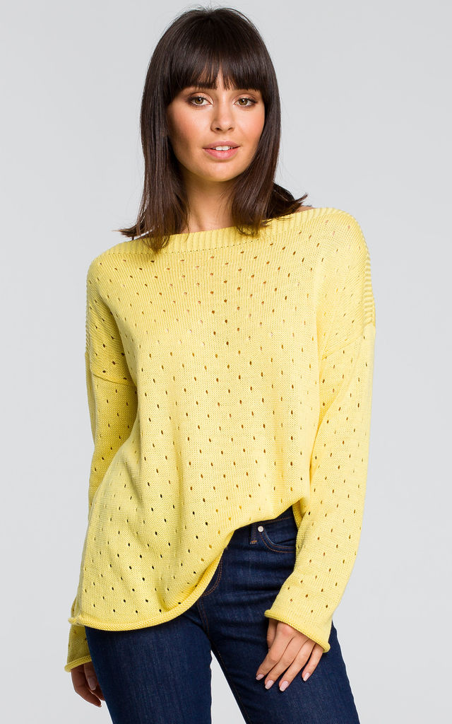 Long Sleeve Jumper with Eyelets in Yellow by MOE