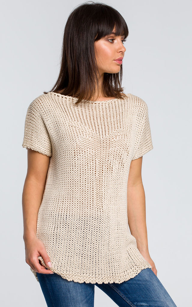 Short Sleeve Knit Top With Palm Design in Beige by MOE