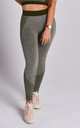 Khaki Green Flex Exercise Gym Leggings by Twisted Saint